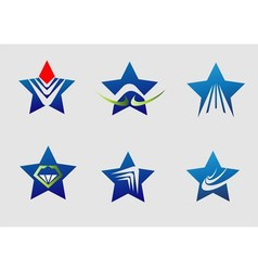 Collection star logo icon element set vector