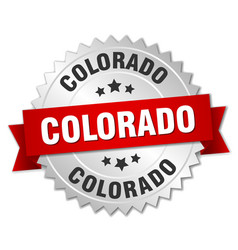 Colorado round silver badge with red ribbon vector