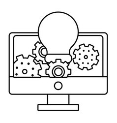 computer with gears and bulb light black and white vector image