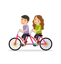 Couple riding tandem bicycle vector