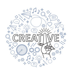 creative ideas concept line art hand with pencil vector image