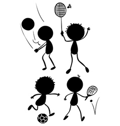 Different sport activities in its silhouette forms vector image