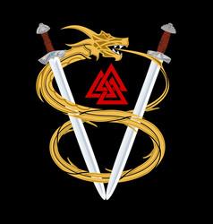 Dragon sword triskelion vector