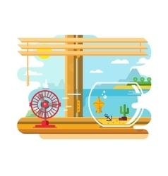 Fan and Aquarium on Windowsill Next to Open Window vector