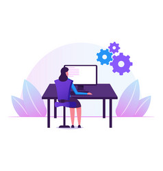 female programmer working with devops software vector image