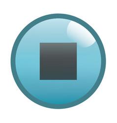 Flat black stop button icon vector
