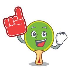 Foam finger ping pong racket mascot cartoon vector