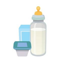 fresh organic milk products set isolated vector image
