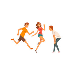 friends having fun and running together male vector image