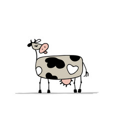 funny cow character sketch for your design vector image