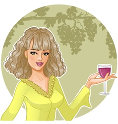 Girl with glass of wine vector image
