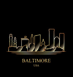 gold silhouette baltimore on black background vector image