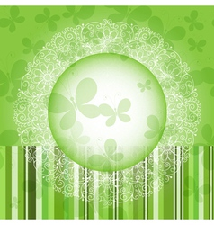 Green spring round frame vector image
