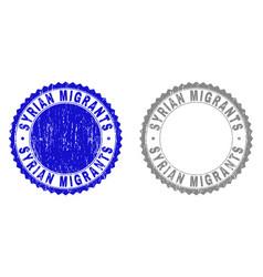 Grunge syrian migrants textured watermarks vector