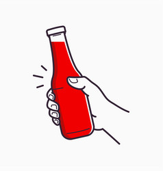 hand hold ketchup bottle holding a tomato ketchup vector image
