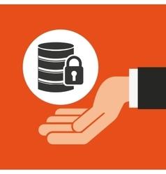 hands businessman data security padlock vector image