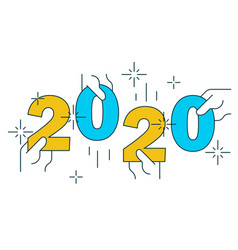hands holding figures 2020 on white vector image