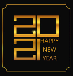 happy new year poster golden 2021 logo vector image