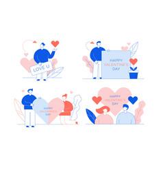 Happy valentine day love declaration card set vector