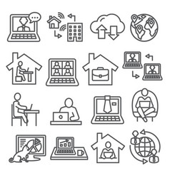 home working line icons on white background vector image