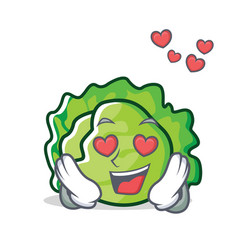 In love lettuce character cartoon style vector