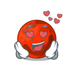 In love mars planet mascot cartoon vector