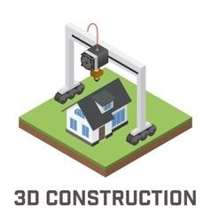 Industrial 3D printer prints a house concept vector image