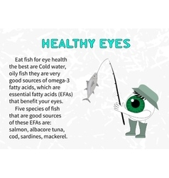 Info about the benefits of fish for eyesight vector