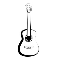 isolated guitar outline musical instrument vector image