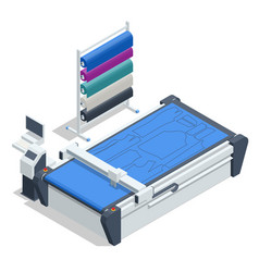 Isometric cutting machine textile industry vector