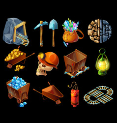 Isometric mining game elemens set vector