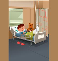 Kid with broken leg in hospital vector