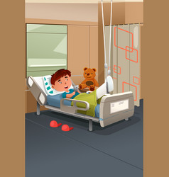 Kid with broken leg in the hospital vector