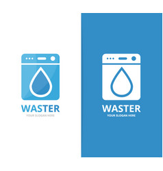 laundry and water drop logo combination vector image