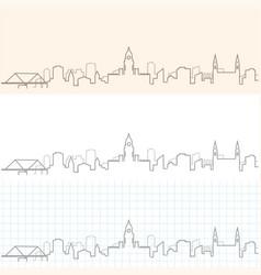 leeds hand drawn skyline vector image
