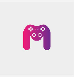 Letter m ame logo design template gamepad icon vector