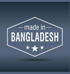 made in bangladesh hexagonal white vintage label vector image