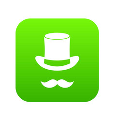 Magic black hat and mustache icon digital green vector