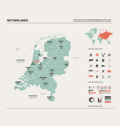 Map netherlands country with division vector