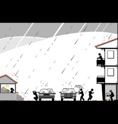 massive hail storm causes chaos in neighborhood vector image
