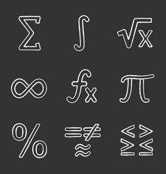 mathematics chalk icons set vector image