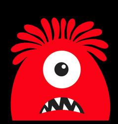 monster head red silhouette one eye hair teeth vector image