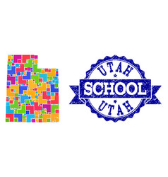 Mosaic map utah state and scratched school vector