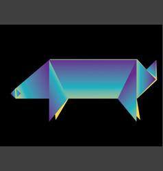 Neon origami pig vector