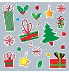 New Year and Christmas sticker icons vector image