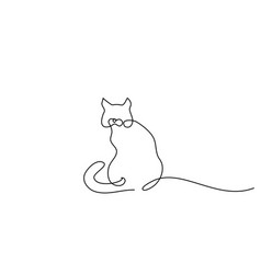 one line drawing cat sitting with curled tail vector image