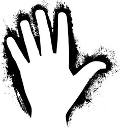 Paint handprint in prehistoric style black and vector