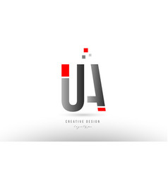Red grey alphabet letter ua u a logo combination vector