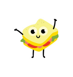 sandwich cartoon character vector image