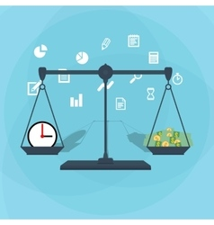 Scale weighing money and time vector image